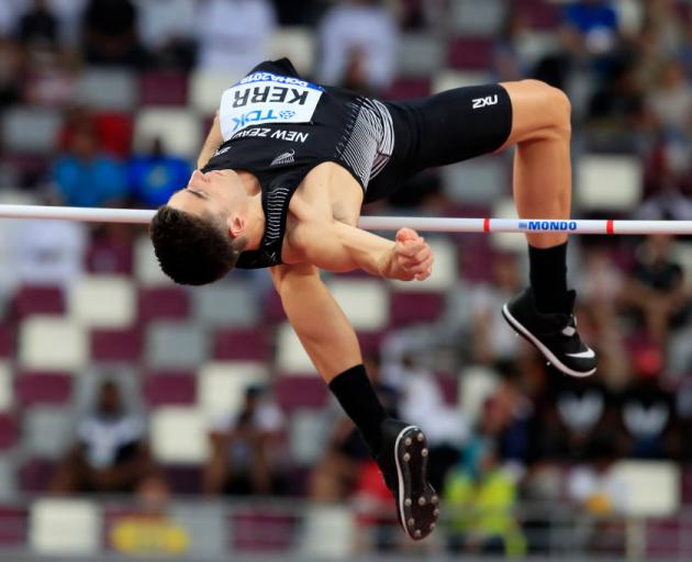 Hamish Kerr competes in the Men's High Jump qualification during day five of 17th IAAF World...