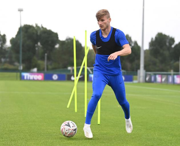 Timo Werner at Chelsea training. Photo: Getty Images