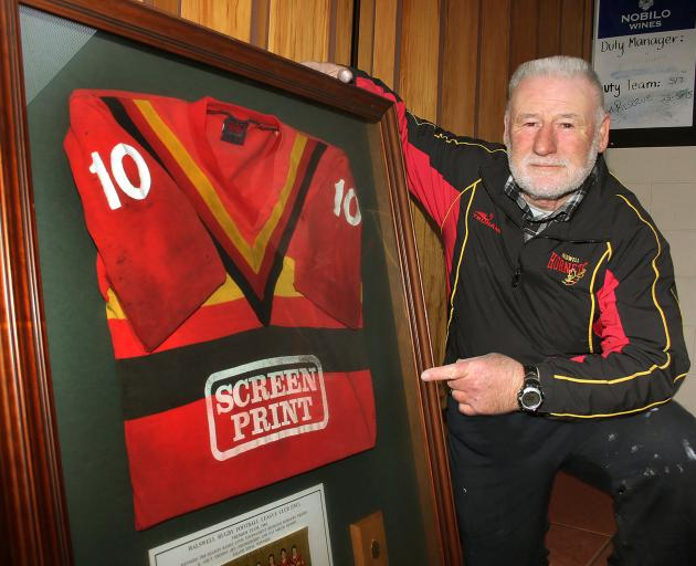 Darryl Hawker with his Halswell jersey. The team won the 1985 Pat Smith Trophy grand final Photo:...