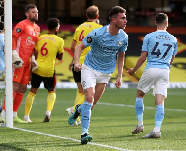 Aymeric Laporte scores during Manchester City's thrashing of Watford this morning. Photo: Getty...