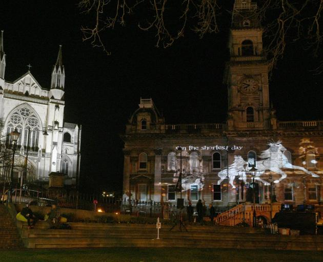 Scenes from previous Midwinter Carnivals were projected on to Dunedin's Municipal Chambers during...