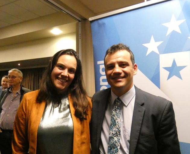 National's new candidate for Southland Joseph Mooney with wife Silvia after tonight's vote. Photo...