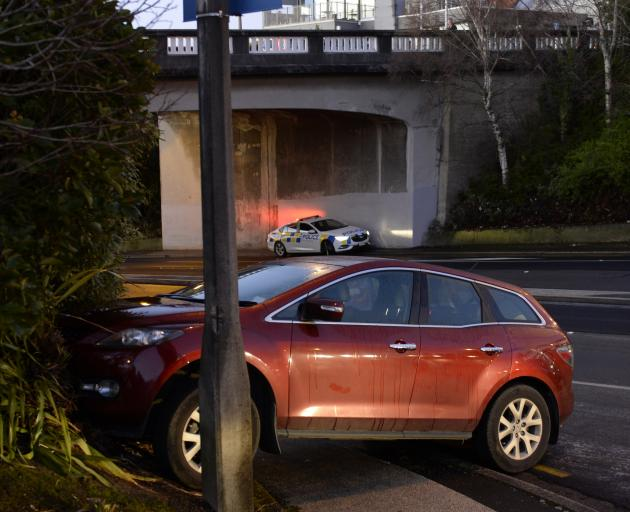 This car came to a stop near the Roslyn overbridge in Stuart St. Photo: Gerard O'Brien
