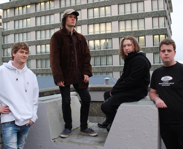 From left: Hamish Daniell (drums), Silas Wynlaegan (bass), Karl Brinsdon (vocals and guitar) and...