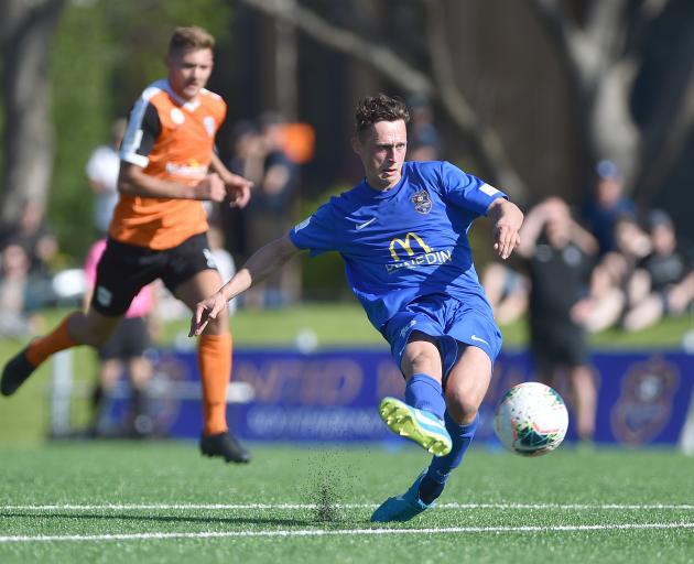 Southern United striker Joel Stevens scores in the second half of his side's match against Tasman...