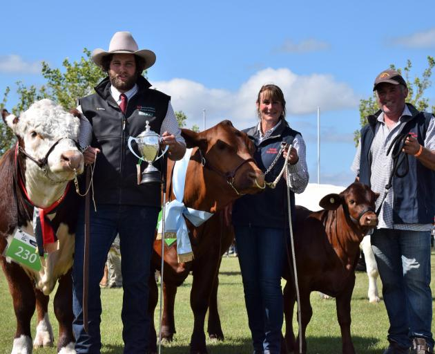 In 2017, the Gibson family become the only exhibitor to win both the senior and junior meat and wool cups in the same show at the New Zealand Agricultural Show in Christchurch. Pictured (from left) are Will, Liz and Anton Gibson. PHOTO AMY HOOGENBOOM