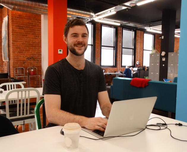 Josiah Hunt works from the co-working office space Petridish, in Dunedin, on Monday after...
