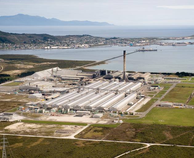 The aluminium smelter at Tiwai Point in Bluff. Photo: supplied
