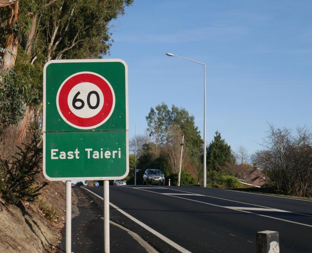 The 60kmh sign at the north end of East Taieri. Resident Margaret Scott wants a solar speed sign...