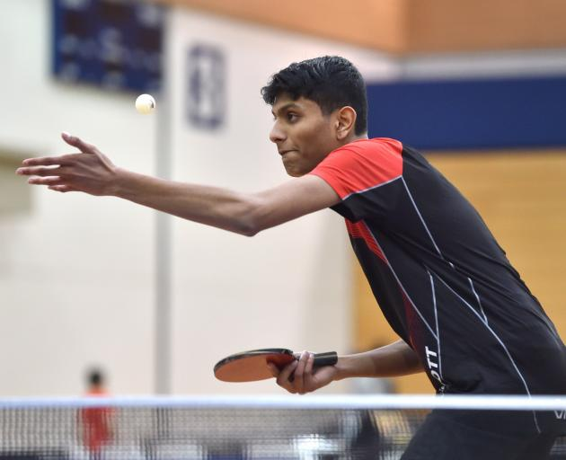 Vedang Gaikwad from Christchurch serves during an under-21 doubles semifinal at the Otago Open...