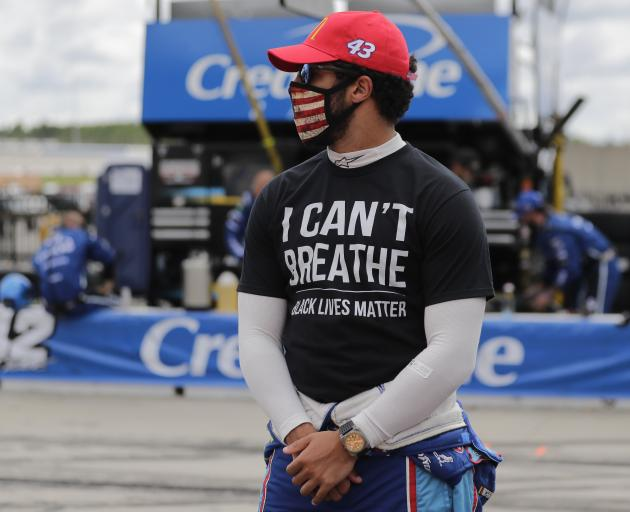 Nascar Cup Series driver Bubba Wallace wears an ''I Can't Breathe, Black Lives Matter'' shirt...