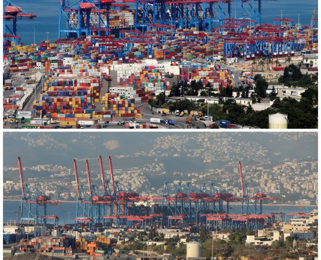 The port of Beirut on August 22, 2019 and after Tuesday's blast. Photo: Reuters