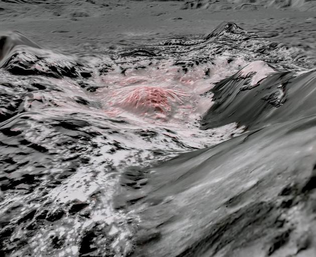 Salty liquids pushed up from a deep reservoir under the crust of the dwarf planet Ceres. Photo:...