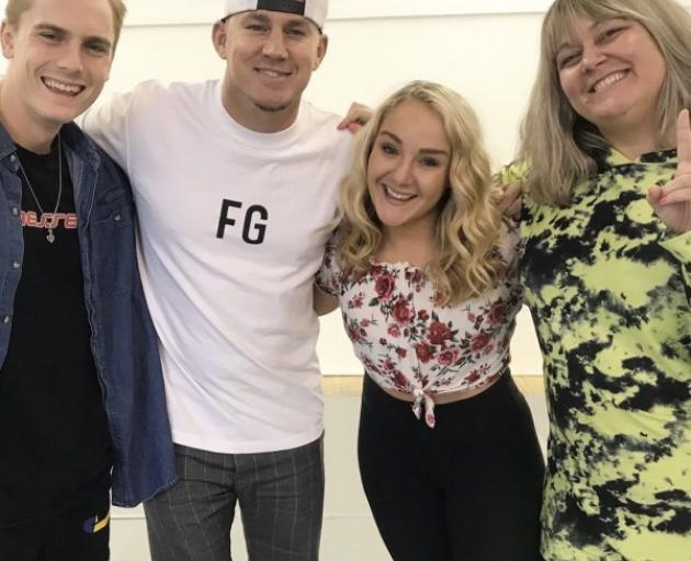 Alexia Brinsley, second right, with, from left, Magic Mike Live Australian lead Anthony Bartley, director/movie star Channing Tatum, and Aussie actress Amy Ingram. Photo: Supplied