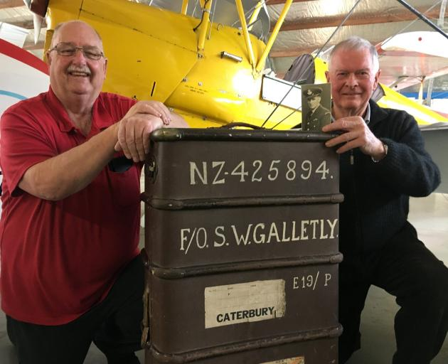 Ashburton Aviation Museum president Warren Janett (left) and Warren Galletly with his father...