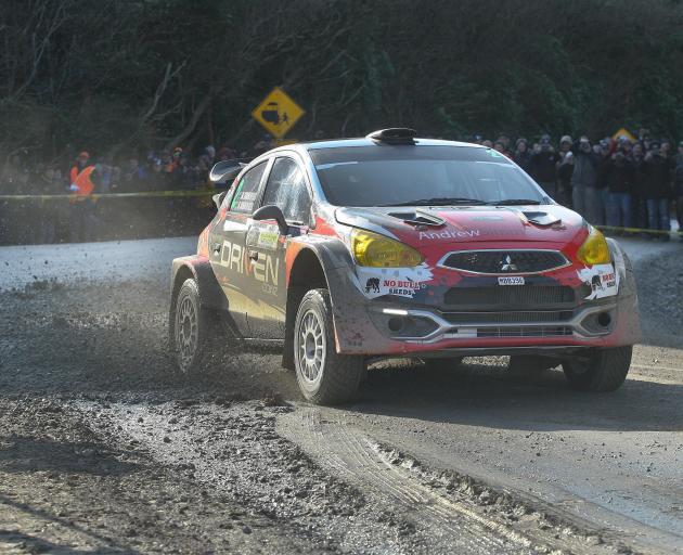 Matt Summerfield and Jared Christofferson, of Christchurch, drive their Mitsubishi Mirage AP4 to...