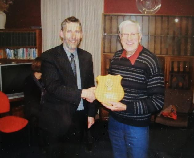 Br Don Murray was presented with a token of appreciation from St Kevin's College in Oamaru in...