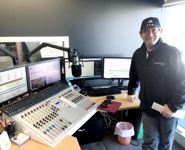 Compass FM station manager Kerry Treymane is enjoying playing with his new toys. Photo: David Hill