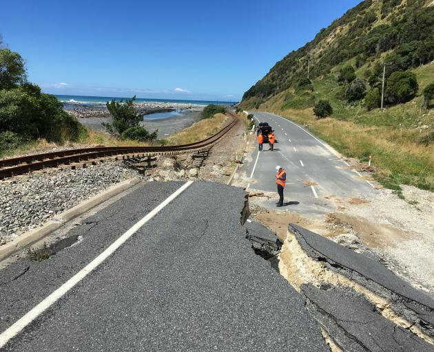 Work begins on the railway lines around Kaikoura last year after being damaged in the 2016 earthquake. Photo: KiwiRail