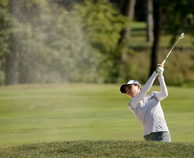 Lydia Ko hits a shot from the sand on the 15th hole during the final round of the Marathon LPGA Classic. Photo: Getty Images