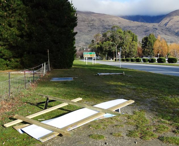 Election hoardings have been damaged in Wanaka. PHOTO: KERRIE WATERWORTH