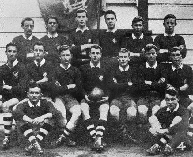 The Otago Boys' High School team, winners by 20 to 16 in their annual rugby contest against...