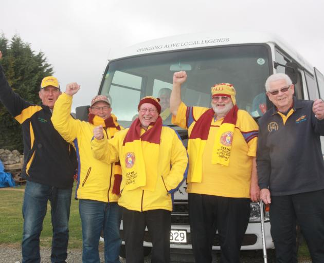North Otago Rugby Supporters Club members (from left) Ralph Davies, Murray Rawcliffe, Chris...
