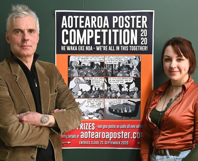 Aotearoa Poster Competition organisers Bruce Mahalski and Veronica Brett. Photo: Linda Robertson