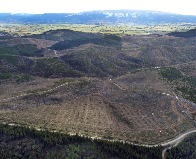 The site of a proposed Dunedin City Council landfill appears in the foreground of this aerial...