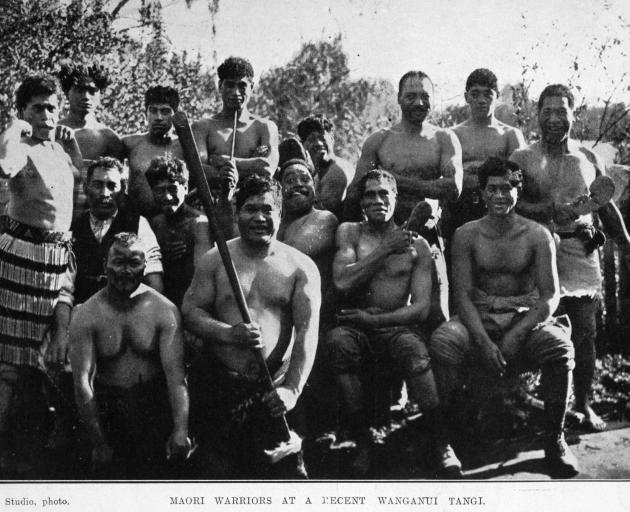 Maori warriors at a recent tangi in Wanganui. — Otago Witness, 31.8.1920....