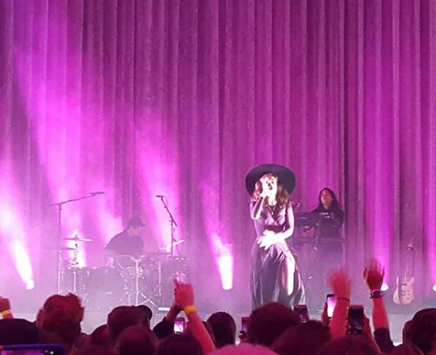 Lorde performing at the Dunedin Town Hall last night. Photo: James Hall