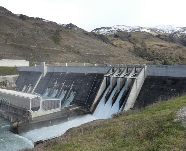 The spillway at the Clyde Dam has been discharging water from Lake Dunstan — it is pictured here...