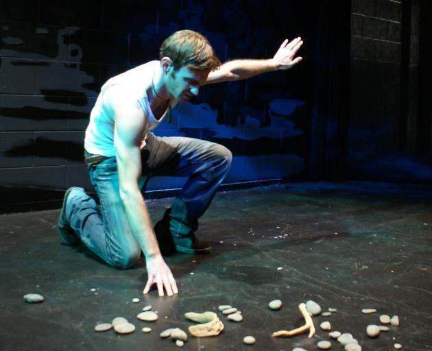 Cheyne Jenkinson rehearses for The Raft at Dunedin's Globe Theatre. PHOTO: SOFIE WELVAERT
