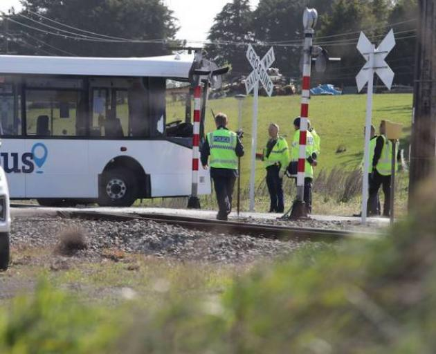 Police at the crash scene. Photo: NZ Herald