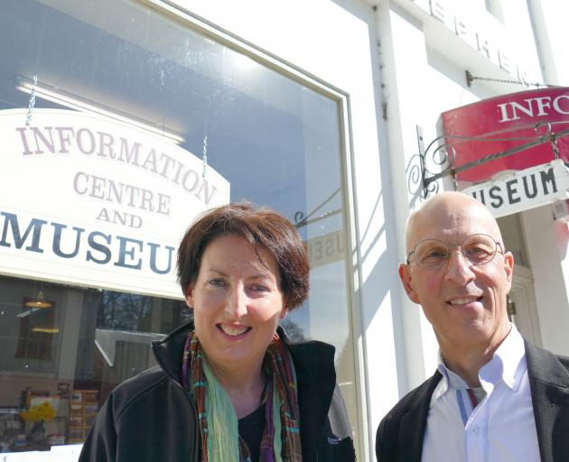 Tuapeka-Lawrence Community Company chairwoman Mel Foster and treasurer Bernie Bader outside the...
