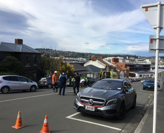 Emergency services at the scene where an elderly woman was hit by a car in central Dunedin this...