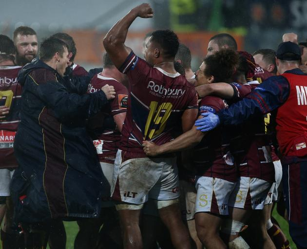Southland Players celebrate their win against Hawke's Bay in a Mitre 10 Cup match at Rugby Park...