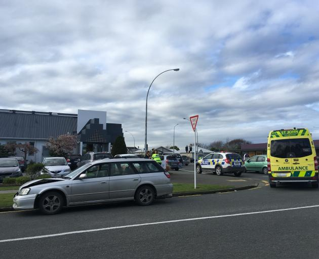 The car involved in a two vehicle crash near the corner of Dee and Herbert Sts in Invercargill....