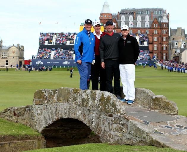 Sir Bob Charles (second left) is pictured with other former winners of The Open, Sandy Lyle (left...