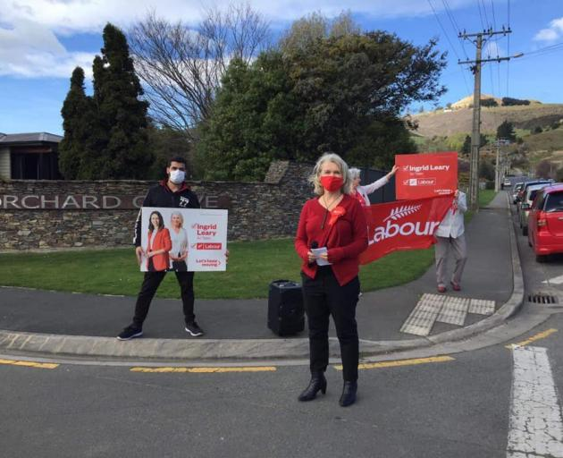 Labour Taieri candidate Ingrid Leary sets up a street corner meeting. PHOTO: FACEBOOK