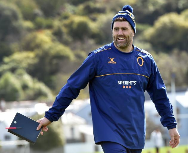 Prop and assistant coach Jamie Mackintosh at Otago training at Logan Park yesterday. PHOTO: PETER...