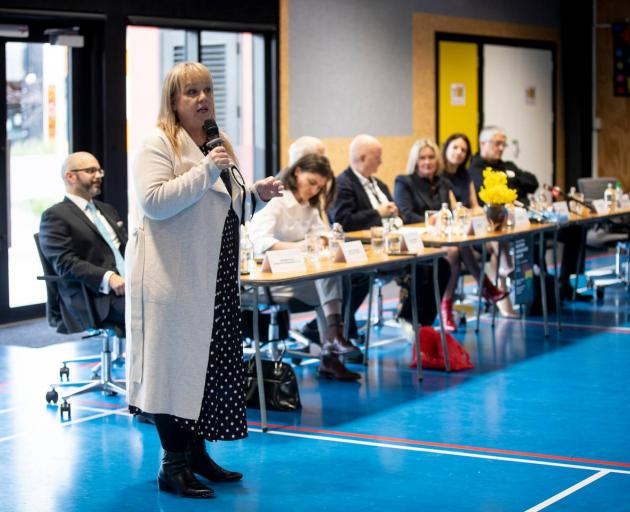 NZ First MP Jenny Marcroft speaks at a debate for Auckland Central candidates. Photo: NZ Herald