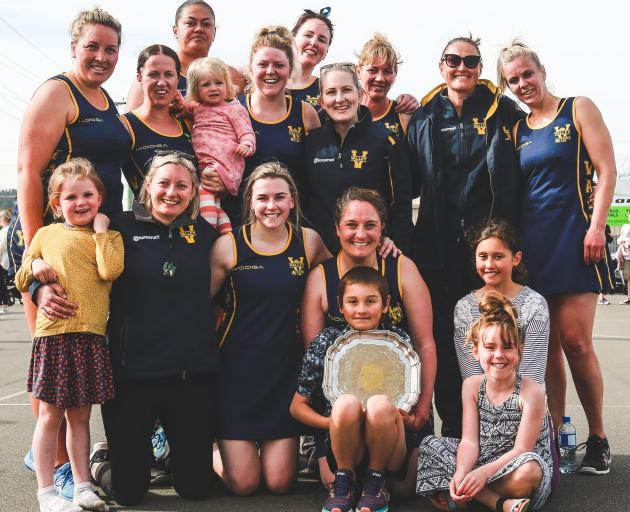The Valley Karaka team and supporters celebrate after winning the North Otago premier netball...