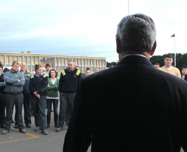 New Zealand First leader Winston Peters' bus tour of the country included a stop at the Tiwai...
