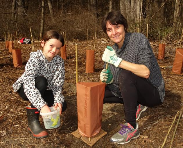 Putting the final touches on a newly planted native are Frankie (9) and Petra Sim, of Arrowtown....