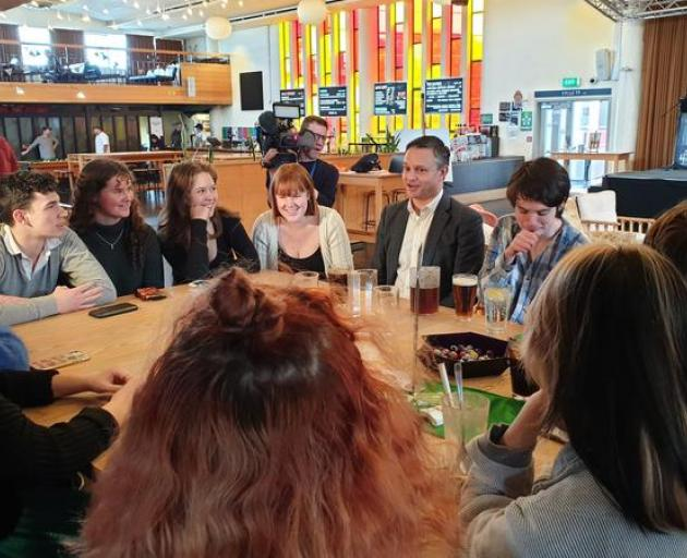 Green Party co-leader James Shaw meets with students at the Victoria University of Wellington bar...