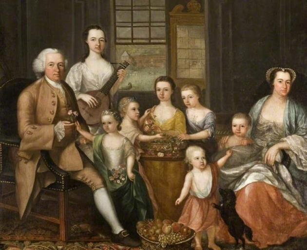 The Glassford Family Portrait, commissioned from artist Archibald McLauchlan in 1766. Cleaning...