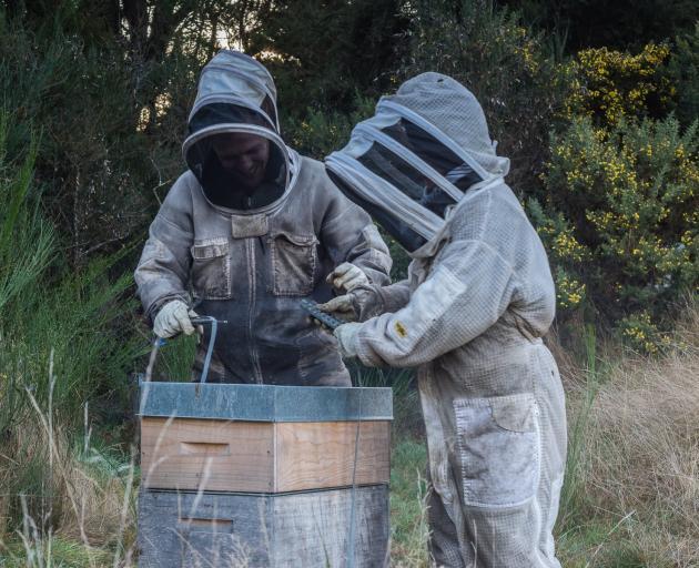 Dana (left) and Megan Young, of Tuapeka Honey, Lawrence, have given three hives to Waitahuna...