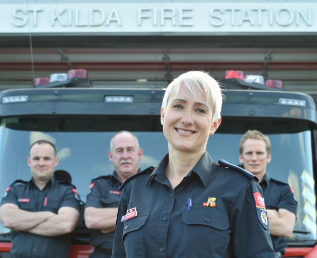 St Kilda Fire Station's newly appointed Station Officer Barbara Olah, with (from left) Qualified...