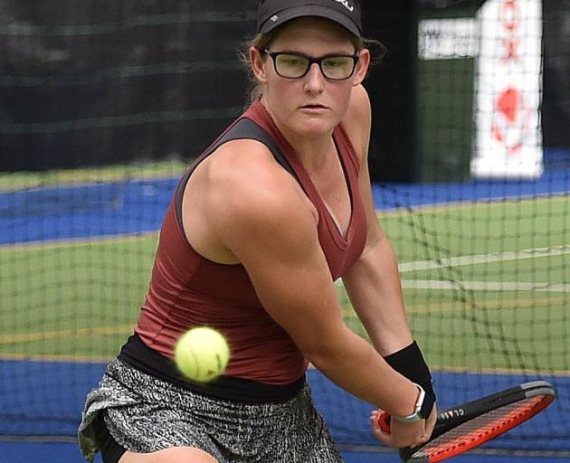 Winner Sofia Shing, of Auckland, prepares to hit a backhand to Otago's Ayesha Horley during the...